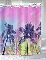 cheap -Pink Coconut Tree Digital Printing Shower Curtain Shower Curtains  Hooks Modern Polyester New Design