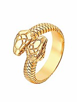 cheap -vintage snake ring for men women stainless steel punk rings retro gothic double snake head loop fashion animal statement ring cool snake rings gold/silver-gold6