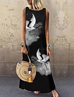 cheap -Women's Shift Dress Maxi long Dress Black Sleeveless Print Animal Print Spring Summer Round Neck Casual 2021 S M L XL XXL 3XL