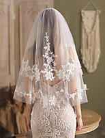 cheap -Two-tier Comtemporary / Stylish Wedding Veil Elbow Veils with Solid / Crystals / Rhinestones Lace / Tulle