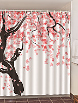 cheap -Shower Curtains with Hooks Peach Blossoms Scenery Polyester Novelty Fabric Waterproof Shower Curtain for Bathroom
