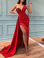 cheap -Mermaid / Trumpet Vintage Sexy Wedding Guest Formal Evening Dress One Shoulder Sleeveless Sweep / Brush Train Satin with Split 2021