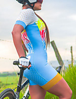 cheap -Women's Men's Short Sleeve Triathlon Tri Suit Summer Blue Patchwork Bike Quick Dry Breathable Sports Patchwork Mountain Bike MTB Road Bike Cycling Clothing Apparel / Stretchy / Athletic