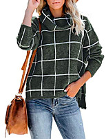 cheap -flovey womens turtleneck grid pattern pullover sweaters long sleeve chunky plaid knitted jumper tops (green, xl)