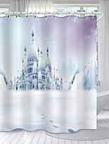 cheap -White Castle Digital Printing Shower Curtain Shower Curtains Hooks Modern Polyester New Design