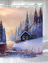cheap -Snow Mountain Lodge Digital Printing Shower Curtain Shower Curtains  Hooks Modern Polyester New Design