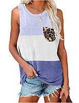cheap -Women's Holiday Tank Top Color Block Leopard Pocket Print Round Neck Tops Streetwear Basic Top Black Blue Purple