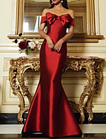cheap -Mermaid / Trumpet Beautiful Back Vintage Wedding Guest Formal Evening Dress Strapless Sleeveless Floor Length Satin with Sleek Bow(s) 2021