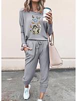 cheap -Women Basic Streetwear Print Cat Vacation Casual / Daily Two Piece Set Tracksuit T shirt Pant Loungewear Jogger Pants Drawstring Print Tops