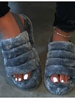 cheap -Women's Slippers & Flip-Flops Flat Heel Round Toe Faux Fur Solid Colored Leopard White Black