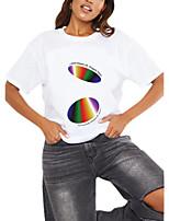cheap -Women's T shirt Rainbow Graphic Geometric Print Round Neck Tops 100% Cotton Basic Basic Top White Black