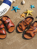 cheap -Men's Sandals Casual Beach Daily Walking Shoes PU Breathable Non-slipping Wear Proof Light Brown Dark Brown Summer