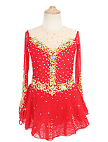 cheap -Figure Skating Dress Women's Girls' Ice Skating Dress Red Patchwork Asymmetric Hem Spandex High Elasticity Competition Skating Wear Crystal / Rhinestone Long Sleeve Ice Skating Figure Skating / Kids