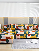 cheap -Colorful Geometric Print Dustproof All-powerful Slipcovers Stretch L Shape Sofa Cover Super Soft Fabric Couch Cover Sofa Furniture Protector With One Free Boster Case