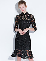 cheap -Mermaid / Trumpet Little Black Dress Elegant Homecoming Cocktail Party Dress Stand Collar Half Sleeve Knee Length Lace with Lace Insert 2021