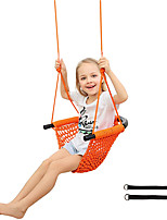 cheap -Kids Swing, Tree Swing for Kids with Adjustable Ropes, Hand-Knitting Rope Swing Seat Great for Tree, Outdoor Indoor, Playground, Backyard, Orange