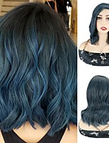 cheap -Blue Body Wave Bob Wigs Synthetic Hair Wigs Cosplay Party Short Wigs For Women