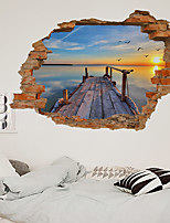 cheap -3D New Broken Wall Lakeside Station Living Room Bedroom Corridor Decoration Can Be Removed Stickers