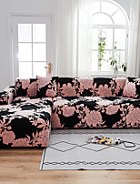 cheap -Pink Floral Rose Print Dustproof All-powerful  Stretch L Shape Sofa Cover Super Soft Fabric Sofa Furniture Protector with One Free Boster Case