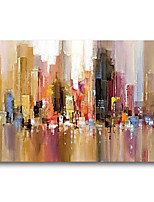 cheap -Stretched Oil Painting Hand Painted Canvas Abstract Comtemporary Modern High Quality Bilding City Ready to Hang