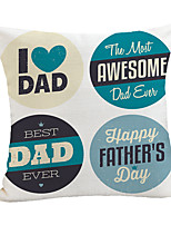 cheap -Double Side Print Father's Day Cushion Cover 1PC Linen Soft Decorative Square  Pillowcase for Sofa Bedroom 45 x 45 cm (18 x 18 Inch) Superior Quality for Patio Garden Farmhouse Bench Couch