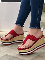 cheap -Women's Sandals Wedge Heel Round Toe Synthetics White Black Red