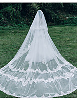 cheap -Two-tier Cute Wedding Veil Chapel Veils with Trim 118.11 in (300cm) Lace / Tulle