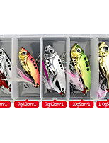 cheap -5 pcs Lure kit Fishing Lures Vibration / VIB lifelike with Feather Floating Sinking Bass Trout Pike Sea Fishing Lure Fishing Freshwater and Saltwater