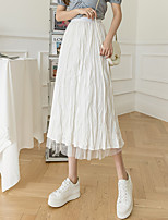 cheap -Women's Vacation Going out Casual Streetwear Skirts Solid Colored Ruched Pleated Patchwork White Black