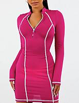 baratos -Mulheres Vestido Esportivo Mini vestido curto Preto Azul Vermelho Cinzento Manga Longa Côr Sólida Zíper Verão Gola Alta Casual 2021 S M L XL XXL