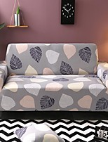 cheap -Gray Leaves Print Dustproof All-powerful  Stretch Sofa Cover Super Soft Fabric with One Free Boster Case