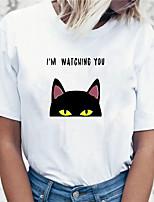 preiswerte -Damen 3D T-Shirt Katze 3D Tier Druck Rundhalsausschnitt Oberteile 100% Baumwolle Grundlegend Basic Top Weiß Schwarz Gelb