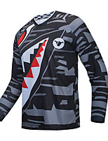 cheap -Men's Long Sleeve Cycling Jersey Downhill Jersey with Pants Dirt Bike Jersey Winter Black Novelty Funny Bike Tee Tshirt Jersey Top Mountain Bike MTB Road Bike Cycling Quick Dry Breathable Sports