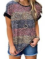 cheap -Women's T shirt Color Block Leopard Print Round Neck Tops Basic Basic Top Blue Purple Wine
