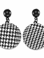 cheap -round button dangle earrings classic black and white fabric check cloth pendants drop earring