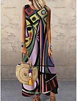 cheap -Women's Shift Dress Maxi long Dress Purple Sleeveless Print Color Block Print Spring Summer Round Neck Casual 2021 S M L XL XXL 3XL