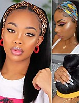 cheap -Headband Wigs for Black Women Straight Headband Wigs Human Hair None Lace Front Wigs Human Hair Machine Made Glueless Headband Wig 12-30inch