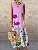 cheap -Women's Shift Dress Maxi long Dress Purple Sleeveless Floral Print Print Spring Summer Round Neck Casual 2021 S M L XL XXL 3XL