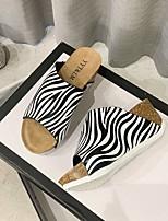 cheap -Women's Sandals Wedge Heel Round Toe PU Color Block White Black Yellow
