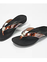 cheap -Women's Slippers & Flip-Flops Flat Heel Open Toe PU Leopard Leopard White Black