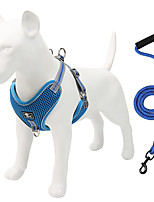 cheap -Dog Cat Harness Training Leash Harness Leash Set Breathable Adjustable Flexible Escape Proof Outdoor Walking Solid Colored Nylon Small Dog Medium Dog Large Dog Black Red Blue