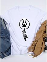 cheap -Women's T shirt Graphic Print Round Neck Tops 100% Cotton Basic Basic Top White Black Purple