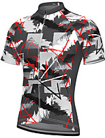 cheap -21Grams Men's Short Sleeve Cycling Jersey Spandex Dark Gray Camo / Camouflage Bike Top Mountain Bike MTB Road Bike Cycling Breathable Quick Dry Sports Clothing Apparel / Athleisure