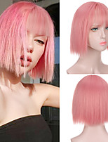 cheap -Pink Short Bob Wig With Bangs for Women Heat Resistant Synthetic Wigs Cosplay Party Lolita Bob Hairstyles Silver Blunt Cut Bob