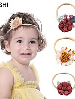 cheap -cross-border european and american creative simulation stitching multicolor flower baby headband fashion soft belt elastic children's thin hairband