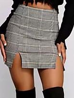 cheap -Women's Club Bar Party Sexy Skirts Check Split Gray