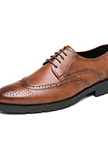 cheap -Men's Oxfords Business Vintage Daily Party & Evening Walking Shoes PU Non-slipping Black Brown Spring Summer