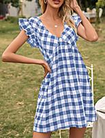 baratos -Mulheres Vestido A Line Mini vestido curto Preto Azul Vermelho Manga Curta Quadriculada Frufru Verão Decote V Casual 2021 S M L XL