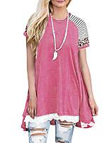 cheap -Women's T shirt Color Block Leopard Patchwork Lace Trims Round Neck Tops Basic Basic Top Black Blushing Pink Khaki