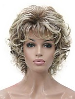 cheap -Short Wig Soft Tousled Curls Blonde Highlights Full Synthetic Wigs COLOUR CHOICES